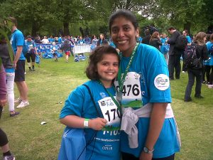 Rebecca Paulraj and her daughter Ria took part in the 5K RBC Race for Kids in aid of Great Ormond Street Hospital Charity